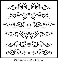elements., cadre, calligraphic, victorien, vecteur, conception, set., frisé