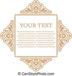 elements., cadre, illustration, calligraphic, vecteur, conception