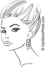 elements., face., illustration, vecteur, conception, girl