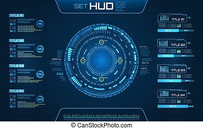 elements., ui, technologie, fond, infographic, futuriste, hud