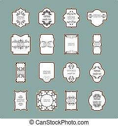 elements., vendange, cadre, calligraphic, conception, set.