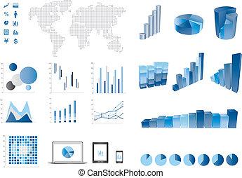 elemtns, diagramme, barre, 3d, finance