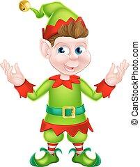 elfe, dessin animé, noël