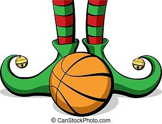 elfe, pieds, noël, basket-ball