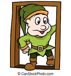 elfe, porte, vert