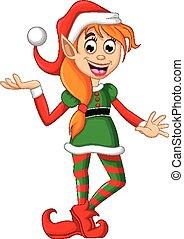 elfe, poser, noël