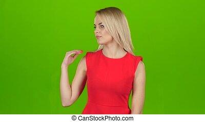 elle, écran, main, arrière-plan vert, dame, rouges, spectacles