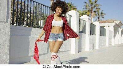 elle, américain, africaine, sexy, girl, apprécie, life.