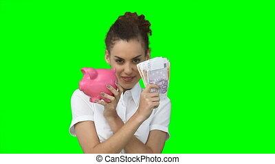 elle, argent, mains, piggy-banque, femme