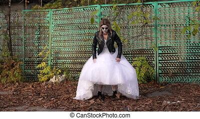 elle, autumn., terrible, figure, maquillage, robede mariée, girl