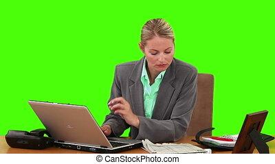 elle, bureau, blonds, fonctionnement, femme affaires