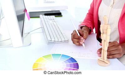 elle, bureau, joli, fonctionnement, concepteur