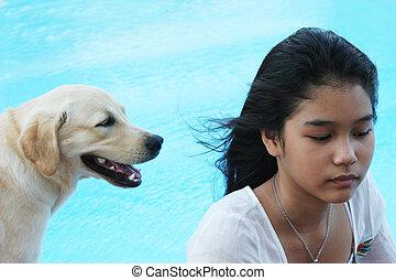 elle, chouchou, chien, girl)., asiatique, (focus, girl