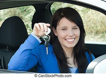 elle, clés, radiant, nouveau, adolescent, tenue, voiture, séance