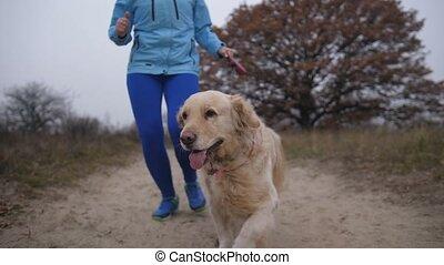 elle, coureur, croix, chouchou, jogging, course, femme