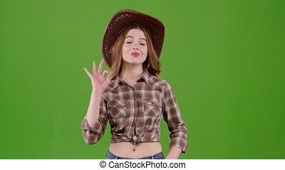 elle, cowgirl, écran, vert, projection, okey.