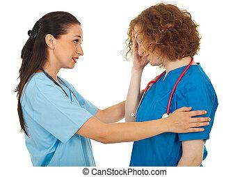 elle, docteur, collègue, réconfortant