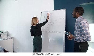 elle, femme affaires, afroamerican, présente, plan, blonds, mâle, colleague.