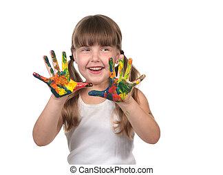 elle, mains, tableau enfant, soin jour