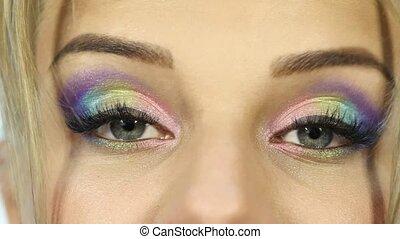 elle, maquillage, mouvements, coloré, rigolote, beau, eyebrow., femme