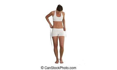 elle, mesurer, ventre, vêtements de sport, brunette, femme