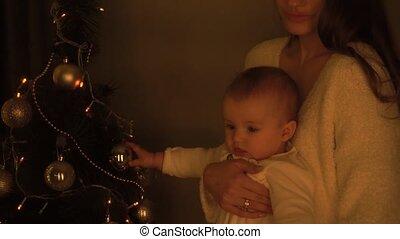 elle, noël, peu, arbre, mère, girl