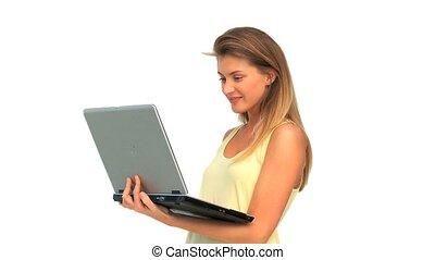 elle, ordinateur portable, agréable, regarder, femme