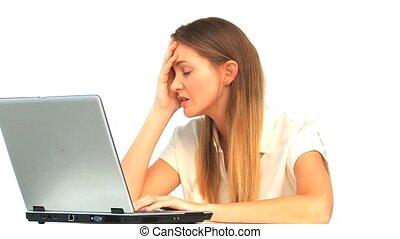 elle, ordinateur portable, femme travail, fatigué