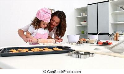 elle, petite fille, mère, cuisson