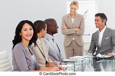 elle, réunion, équipe, femme affaires