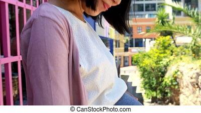 elle, rue, ventre, pregnant, 4k, femme, toucher