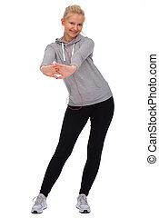 elle, séparément, vue, devant, quoique, exercisme, stands, hanches, girl, penche, étire, mains, side., dehors, deux
