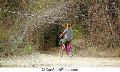 elle, vélo, voyager, joli, laos, girl, route