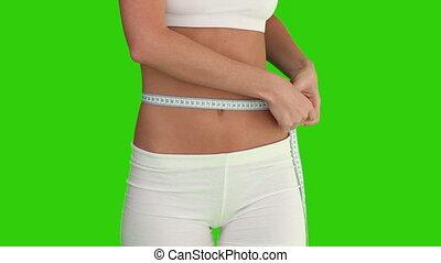 elle, vérification, poids, vêtements de sport, femme