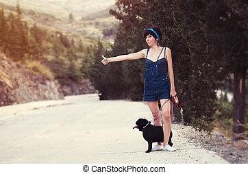 elle, voitures, chien pug, amusement, arrêt, girl, avoir