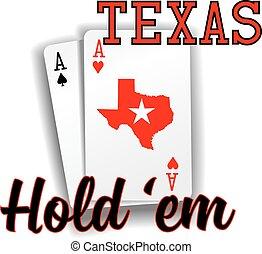 em, poker, as, cartes, prise, texas