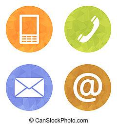 email, ensemble, icônes, mobile, enveloppe, -, boutons, contact, téléphone