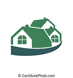 emballé, maison, groupe, vert, logo