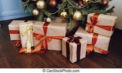 emballé, pays, style, vacances, arbre, noël, doré, décoration, cadeau, présente, décor, maison, boîtes