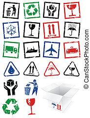 emballage, ensemble, stamps., illustration