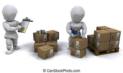 emballage, hommes, boîtes, expédition