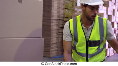 emballage, palette, haut, ouvrier, entrepôt