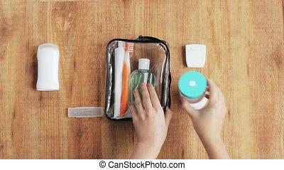emballage, sac, voyage, cosmétique, mains