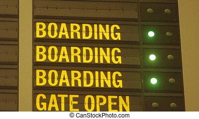 embarquement, aéroport, message