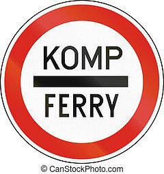 embarquement, komp, utilisé, hongrois, moyens, -, stop, ferry-boat, hongrie, ferry., route