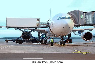 embarquement, passengers., service, avion ligne, garé, technicien, aéroport.