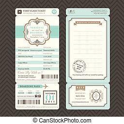 embarquement, style, vendange, passe, vecteur, gabarit, invitation, mariage, billet