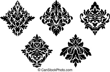 embellishments, motifs, ensemble, floral, vendange