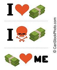 emblème, aimer, crâne, dollars, me., argent., financiers., espèces., financier, anti, logo, pas, amour, haine, symbole