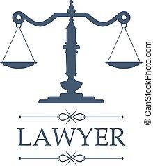 emblème, balances, justice, vecteur, avocat, icône